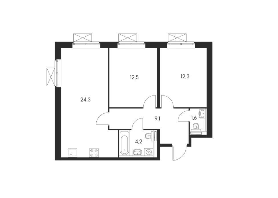 Планировки блок 1, корпус 1.2